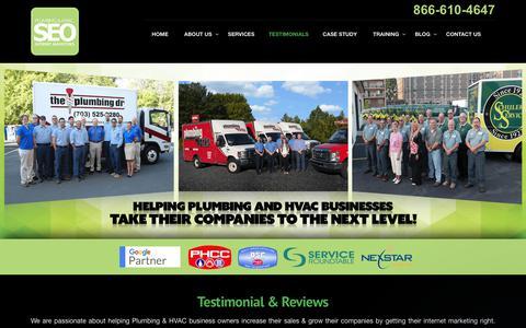Screenshot of Testimonials Page plumberseo.net - Testimonials & Reviews - Plumbing & HVAC SEO - captured Aug. 3, 2017