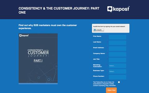 Screenshot of Landing Page kapost.com - Consistency & the Customer Journey: Part 1 - captured March 14, 2016