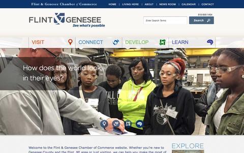 Screenshot of Home Page flintandgenesee.org - Flint & Genesee Chamber of CommerceFlint & Genesee Chamber of Commerce - captured Feb. 10, 2016