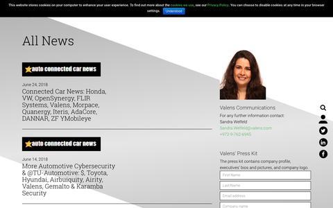 Screenshot of Press Page valens.com - News Archive - Valens - captured July 13, 2018