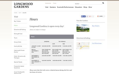 Screenshot of Hours Page longwoodgardens.org - Hours | Longwood Gardens - captured Sept. 19, 2014