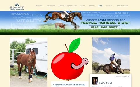 Screenshot of Blog summit-equine.com - Summit Equine Nutrition :: Dr. Clair Thunes - Independent Equine Nutritionist located in Northern California |   Blog - captured Sept. 27, 2016