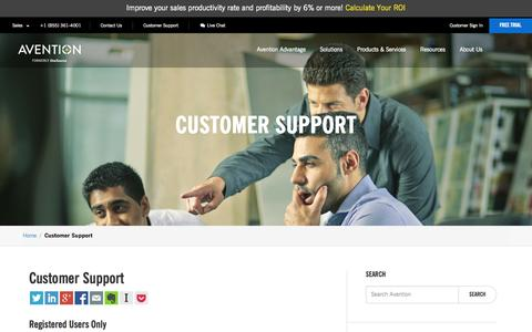 Screenshot of Support Page avention.com - Customer Support - Avention - captured Oct. 10, 2014