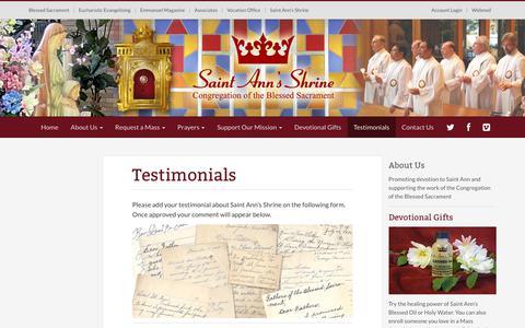Screenshot of Testimonials Page st-ann-shrine.org - Testimonials - Saint Ann's Shrine - captured Sept. 29, 2018
