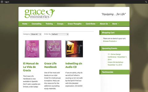 Screenshot of Products Page gmint.org - Grace Ministries International - Christian Counseling - Exchanged Life Training - captured Nov. 2, 2014