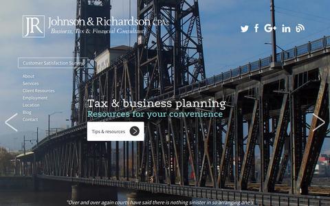 Screenshot of Home Page jrichcpa.com - Johnson & Richardson CPAs, Portland, Oregon Accounting Firm - captured Feb. 11, 2016