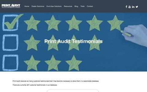 Screenshot of Testimonials Page printaudit.com - Print Audit Testimonials - captured Nov. 10, 2016