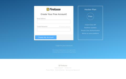Screenshot of Signup Page firebase.com - Signup - Firebase - captured Sept. 16, 2014