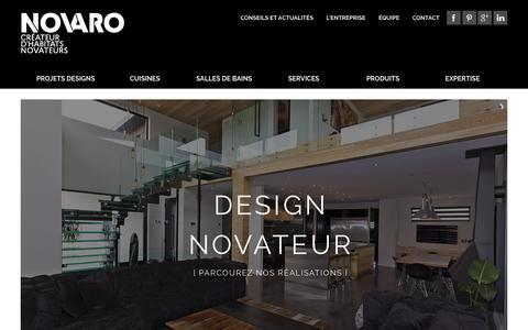 Screenshot of Home Page novaro.ca - Armoires de cuisine à Québec | Rénovations clé en main | Novaro | Ville de Québec - captured Sept. 1, 2015