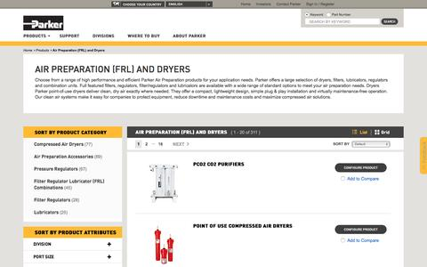 Air Preparation (FRL) and Dryers | Parker