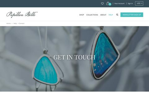 Screenshot of Contact Page papillonbelle.com - Contact | Papillon Belle - captured July 15, 2018