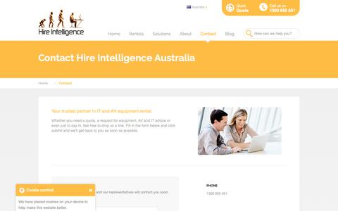 Screenshot of Contact Page hire-intelligence.com.au - Contact Hire Intelligence Australia - captured Sept. 29, 2018