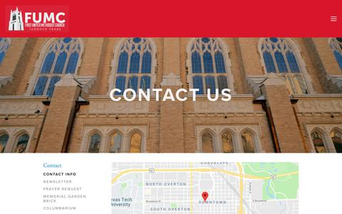 Screenshot of Contact Page fumc.com - Contact Info — First United Methodist Church - captured Oct. 10, 2018