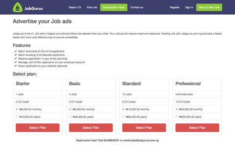 Screenshot of Pricing Page jobgurus.com.ng - Subscription Plans | Jobgurus - captured Sept. 22, 2018