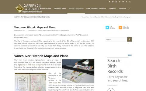 Historic Cartography – Canadian GIS & Geomatics