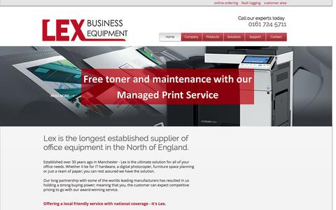 Screenshot of Home Page lexbusiness.co.uk - Lex Business Equipment | Photocopiers Manchester, Manchester MFPs - captured Jan. 28, 2016