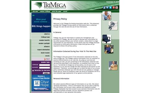 Screenshot of Privacy Page trimega.org - TriMega Purchasing Association - Privacy Policy - captured Sept. 18, 2014