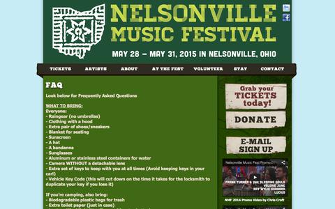 Screenshot of FAQ Page nelsonvillefest.org - Nelsonville Music Festival - Robbins Crossing at Hocking College in Nelsonville, Ohio - captured Oct. 26, 2014
