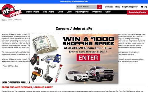 Screenshot of Jobs Page afepower.com - Careers / Jobs at aFe  | aFe POWER - captured June 28, 2017