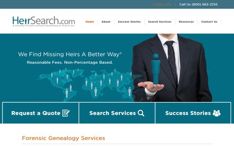 Screenshot of Home Page heirsearch.com - Forensic Genealogy & Legal Genealogical Research - captured Jan. 28, 2016