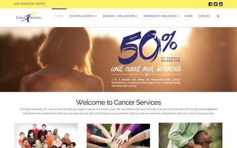 Screenshot of Home Page cancerservicesonline.org - Cancer Services | Winston-Salem, NC - captured Jan. 23, 2015