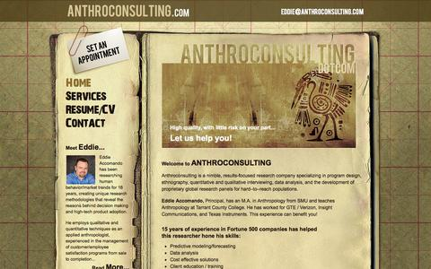 Screenshot of Home Page anthroconsulting.com - Anthroconsulting - captured Sept. 30, 2014