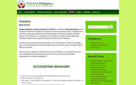 Screenshot of Jobs Page asa-international.com.ph - Careers | Pagasa Philippines Lending Company, Inc. - captured Oct. 1, 2014