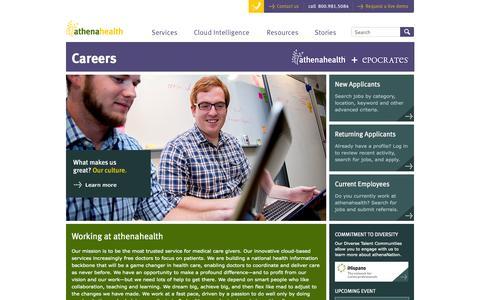 Screenshot of Jobs Page athenahealth.com - athenahealth Careers | Careers | athenahealth - captured Sept. 13, 2014