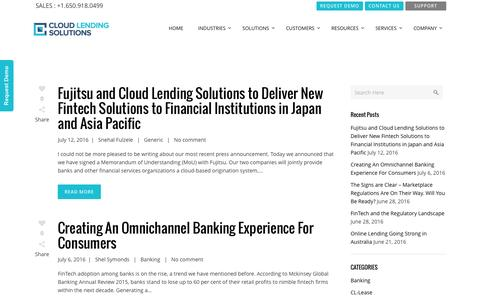 Screenshot of Blog cloudlendinginc.com - Read our Blog on Lending & Leasing Technology | Cloud Lending - captured July 14, 2016