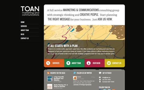 Screenshot of Home Page toan.ca - Full Service Marketing and Communications Company I Victoria BC | TOAN - captured Oct. 7, 2014