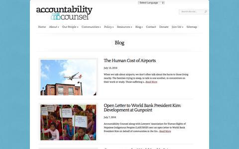 Screenshot of Blog accountabilitycounsel.org - News | Accountability Counsel - captured July 24, 2016