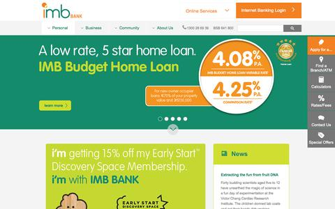 Screenshot of Home Page imb.com.au - Home - IMB | Better Value Banking - captured Oct. 2, 2015