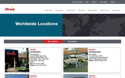 Screenshot of Locations Page itron.com - Locations - captured June 19, 2019