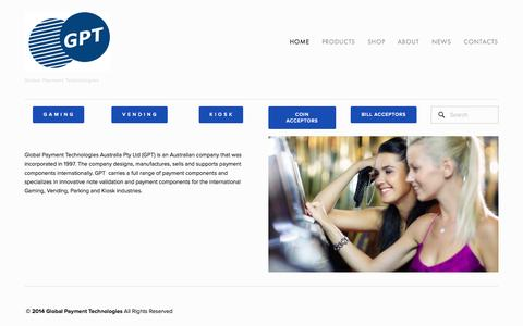 Screenshot of Home Page gpta.com.au - Global Payment Technologies - captured Oct. 2, 2014