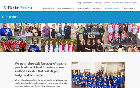 Screenshot of Team Page plasticprinters.com - Our Team | Plastic Printers, Inc - captured Jan. 15, 2016