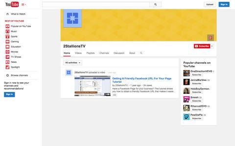 Screenshot of YouTube Page youtube.com - 2StallionsTV  - YouTube - captured Oct. 26, 2014