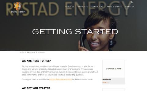 Screenshot of Support Page rystadenergy.com - Cube Browser - Getting Started - captured Sept. 21, 2018