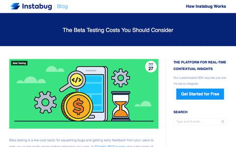 Screenshot of Pricing Page instabug.com - The Beta Testing Costs You Should Consider | Instabug Blog - captured Dec. 3, 2019