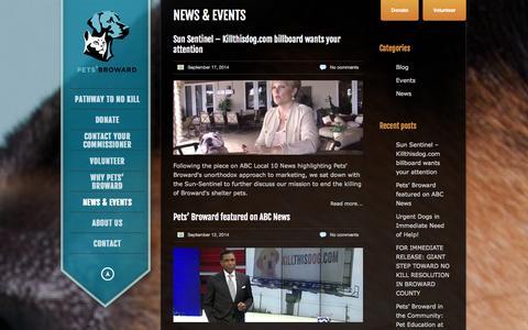 Screenshot of Press Page petsbroward.com - Pets' Broward |   News & Events - captured Sept. 29, 2014
