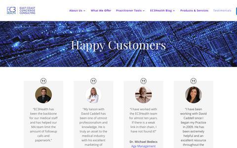 Screenshot of Testimonials Page ec3health.com - Testimonials - EC3Health - captured July 14, 2018