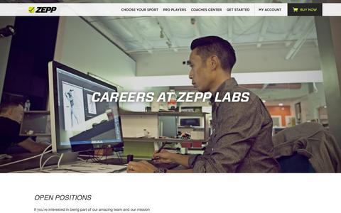 Screenshot of Jobs Page zepp.com - Zepp | Careers - captured Oct. 2, 2015