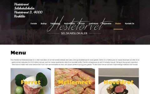 Screenshot of Menu Page heste-torvet.dk - Menu - Hestetorvet Selskabslokaler - captured Sept. 28, 2018