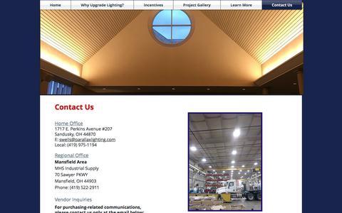 Screenshot of Contact Page parallaxlighting.com - Contact Us - captured July 15, 2018