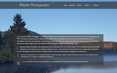 Screenshot of About Page jrslaterphotography.com - About Us :: JRSlater Photography - captured Oct. 29, 2014