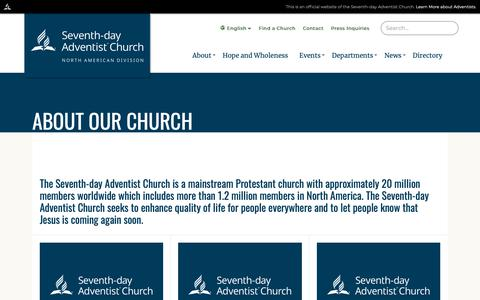 Screenshot of About Page nadadventist.org - About Our Church | North American Division of Seventh-day Adventists - captured Nov. 15, 2018