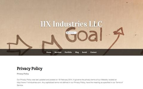 Screenshot of Privacy Page 11xindustries.com - Privacy Policy - 11X Industries LLC - captured Oct. 7, 2014