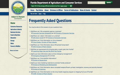 Screenshot of FAQ Page freshfromflorida.com - FAQs / Home - Florida Department of Agriculture & Consumer Services - captured Sept. 19, 2014