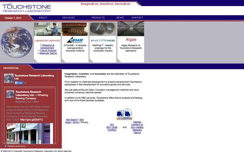 Screenshot of Home Page trl.com - Touchstone Research Laboratory - captured Oct. 7, 2014