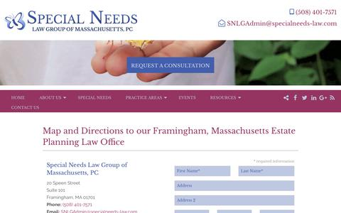 Screenshot of Contact Page specialneeds-law.com - Be Prepared & Discover Peace Of Mind! Call Our Framingham, MA Office Today - captured Oct. 18, 2018