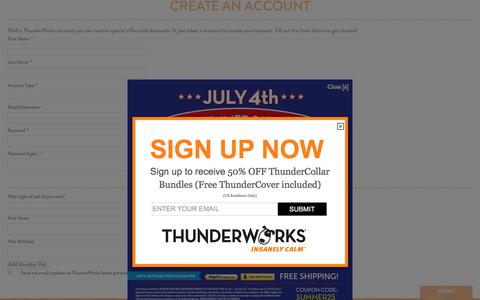 Screenshot of Signup Page thundershirt.com - Create New Customer Account | ThunderShirt - captured June 27, 2017